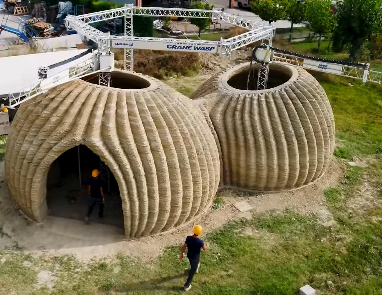 3D gedruckte Häuser aus natürlichen Materialien